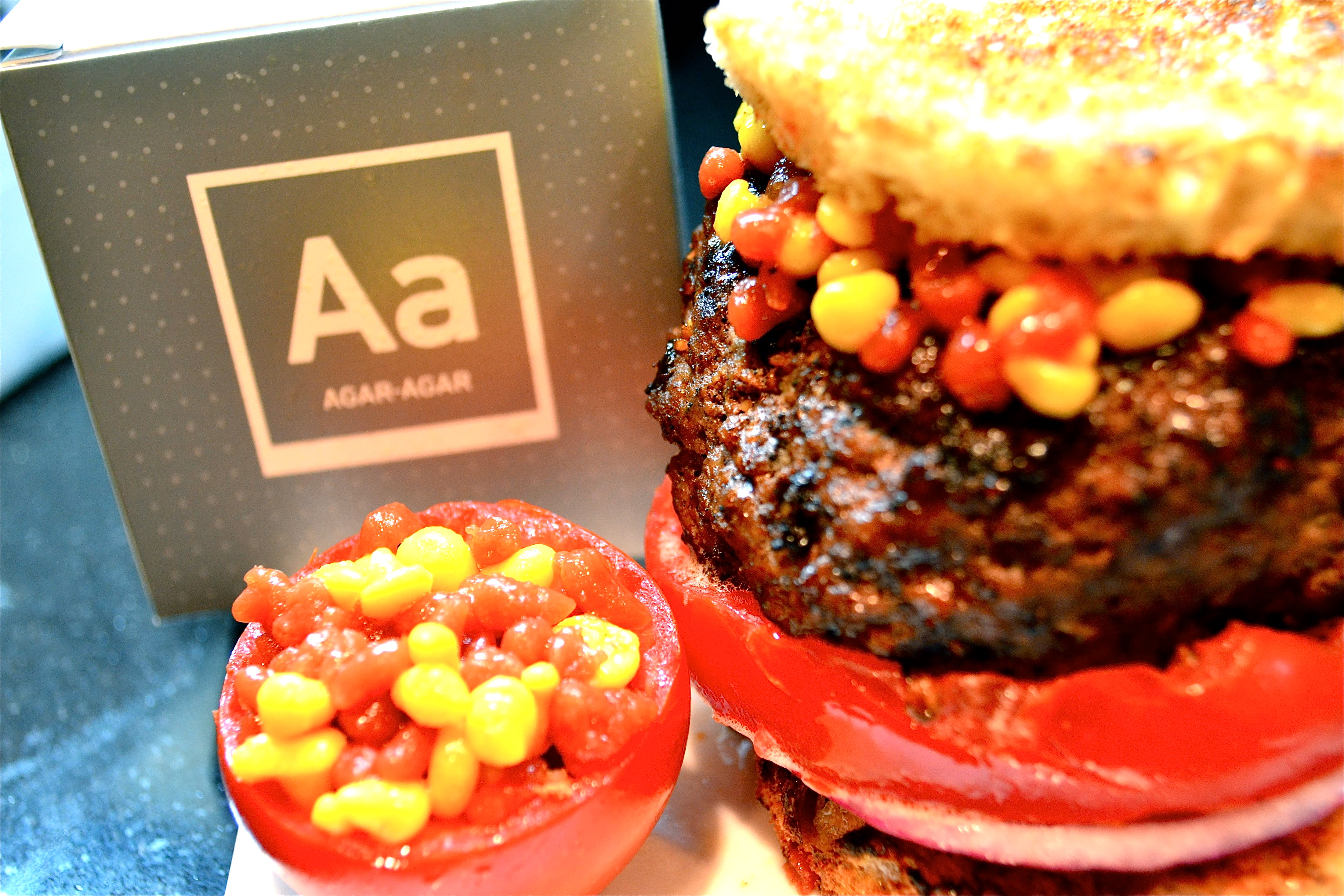 The Molecular Burger with Ketchup and Mustard Caviar | The Bored Spoon